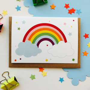 Children's Rainbow Card With Rainbow Sticker