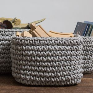 Chunky Knitted Storage Basket - children's room