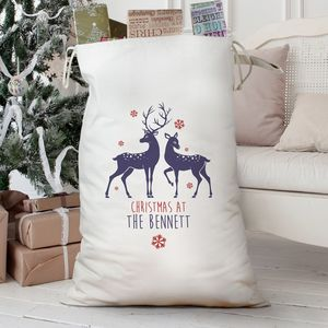 Personalised 'Loving Reindeers' Cotton Sack - stockings & sacks