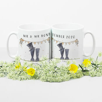 Personalised Wedding 'Mr And Mr' Welly Boot Mugs