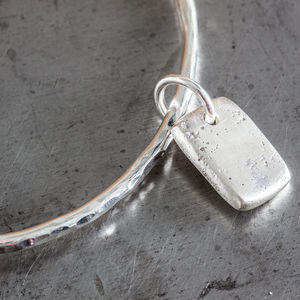Personalised Small Rectangle Charm Hammered Bangle