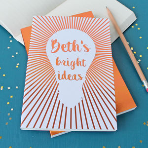 Personalised Gold Foil Bright Ideas Notebook
