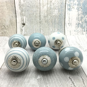 Grey Ceramic Door Knobs Cupboard Drawer Pull Handles - door knobs & handles
