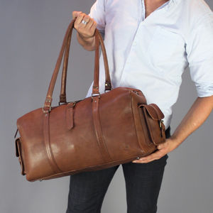 Vintage Style Brown Leather Bowling Bag - holdalls & weekend bags