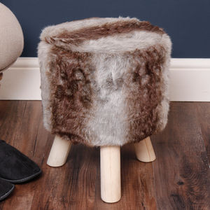 Timberwolf Three Legged Faux Fur Stool