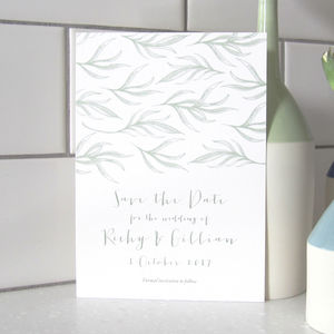 Botanical Foliage Wedding Save The Date Card