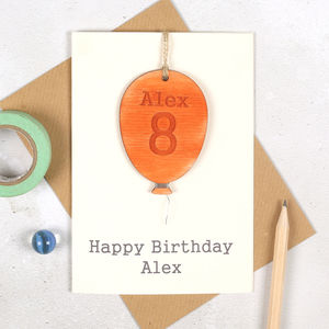 Personalised Age Balloon Keepsake Birthday Card - special age birthday cards