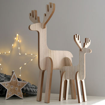 Wooden Standing Stag Decoration