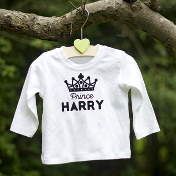 Personalised Long Sleeved Baby Prince Top