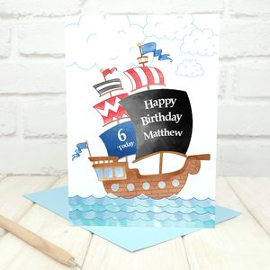 Personalised Pirate Ship Birthday Card - birthday cards