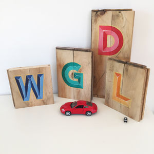 Hand Painted Initial Letter Block - decorative letters