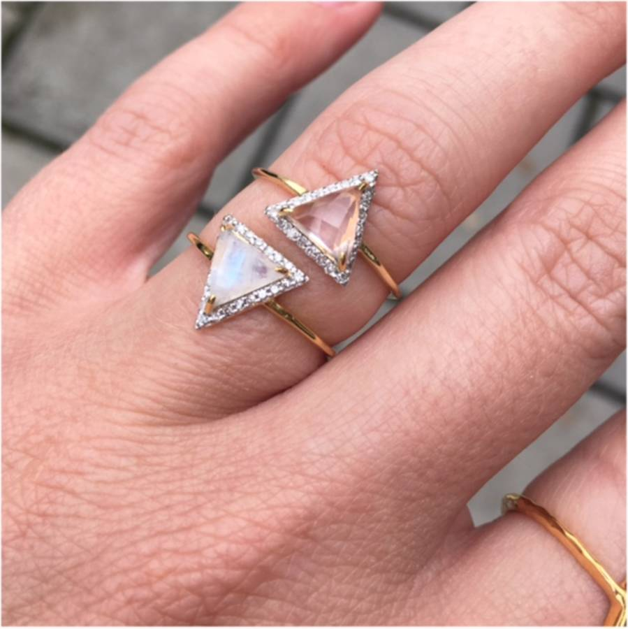 14k gold vermeil triangle diamond ring by carrie elizabeth jewellery ...