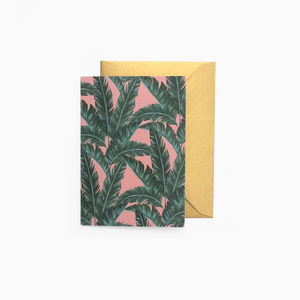 Pink Banana Leaf Blank Mini Card