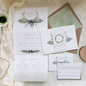 Foliage Tri Fold Wedding Invitation - invitations