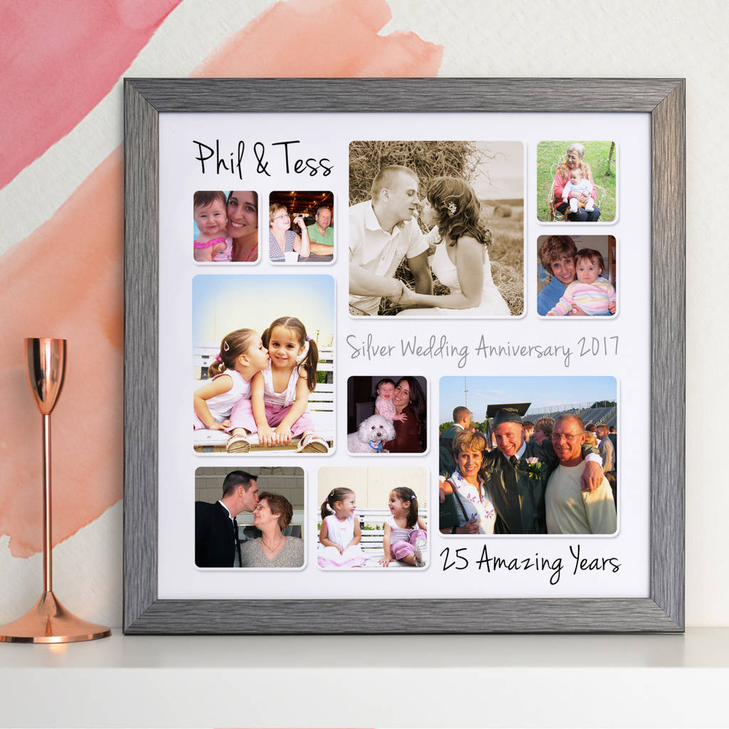 personalised silver wedding anniversary photo collage by cherry pete notonthehighstreetcom