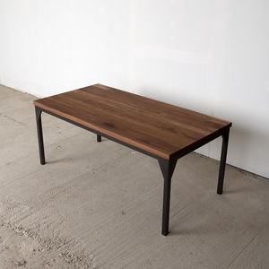 Contemporary Walnut Industrial Table - dining tables