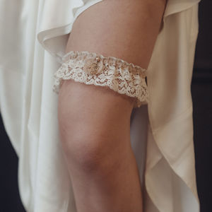 Margaux Antique Lace Rose Gold Wedding Garter - lingerie accessories