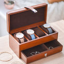 Personalised Ladies Leather Watch And Jewellery Box