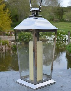 Silver Stainless Steel Candle Lantern