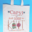 Personalised 'Knitting' Bag - Just loves to knit design - canvas bag