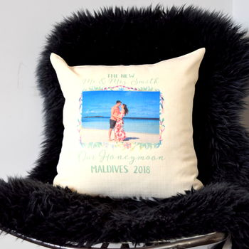 Personalised Honeymoon Photo Cushion