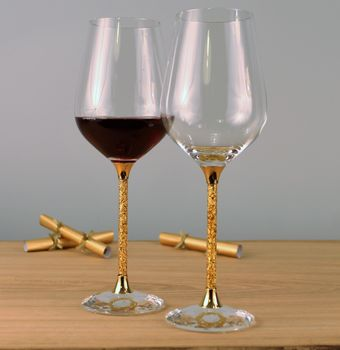 Pair Of 24ct Gold Filled Stem Wine Glasses