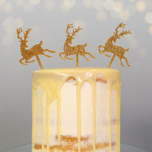 Gold Glitter Christmas Reindeer Cake Topper - kitchen