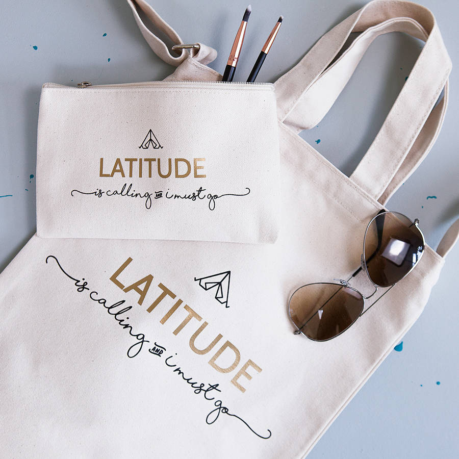Personalised 'Festival Is Calling' Tote And Makeup Bag
