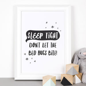 'Sleep Tight' Monochrome Children's Print - dreamland nursery