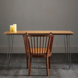 Solid English Oak Hairpin Desk