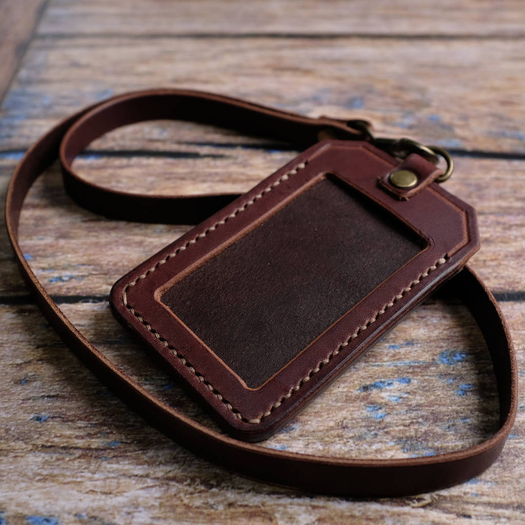 194b8bb94ddc leather id holder with personalised lanyard by hide   home ...