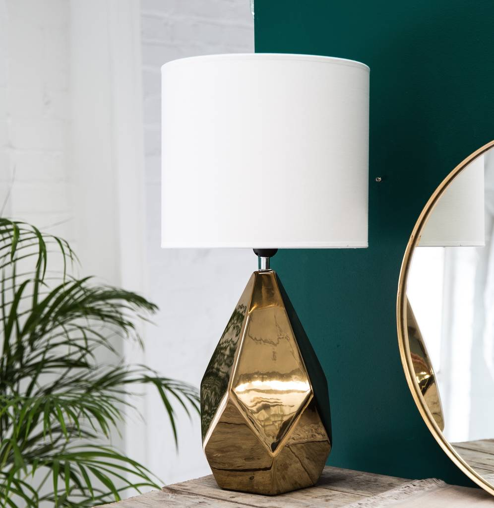 Gold Faceted Table Lamp With A Large Shade