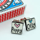 Personalised Ceramic Cufflinks With Name And Heart