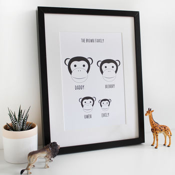 Personalised Monkey Family Print, A4