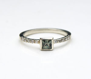 Green Sapphire And Diamond Ring - engagement rings