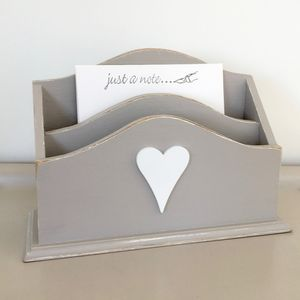 Vintage Painted Heart Letter Rack - filing & storage