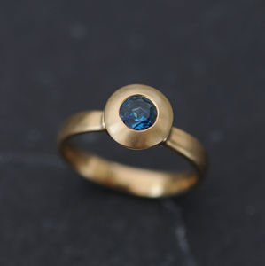 Blue Gemstone Solitaire Gold Ring - rings