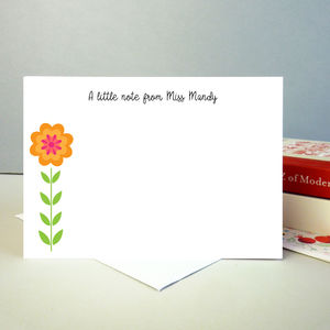Set Of 12 Personalised Teacher Notecards With Flower
