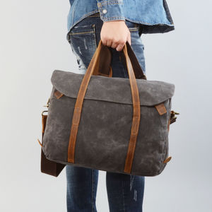 Waxed Canvas Cross Body Laptop Bag