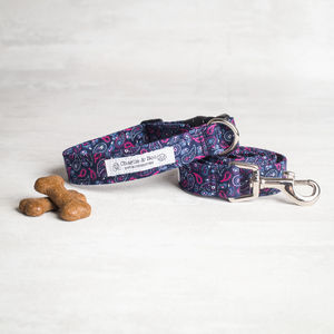 Navy And Pink Dog Collar And Lead/Leash Set - dog collars