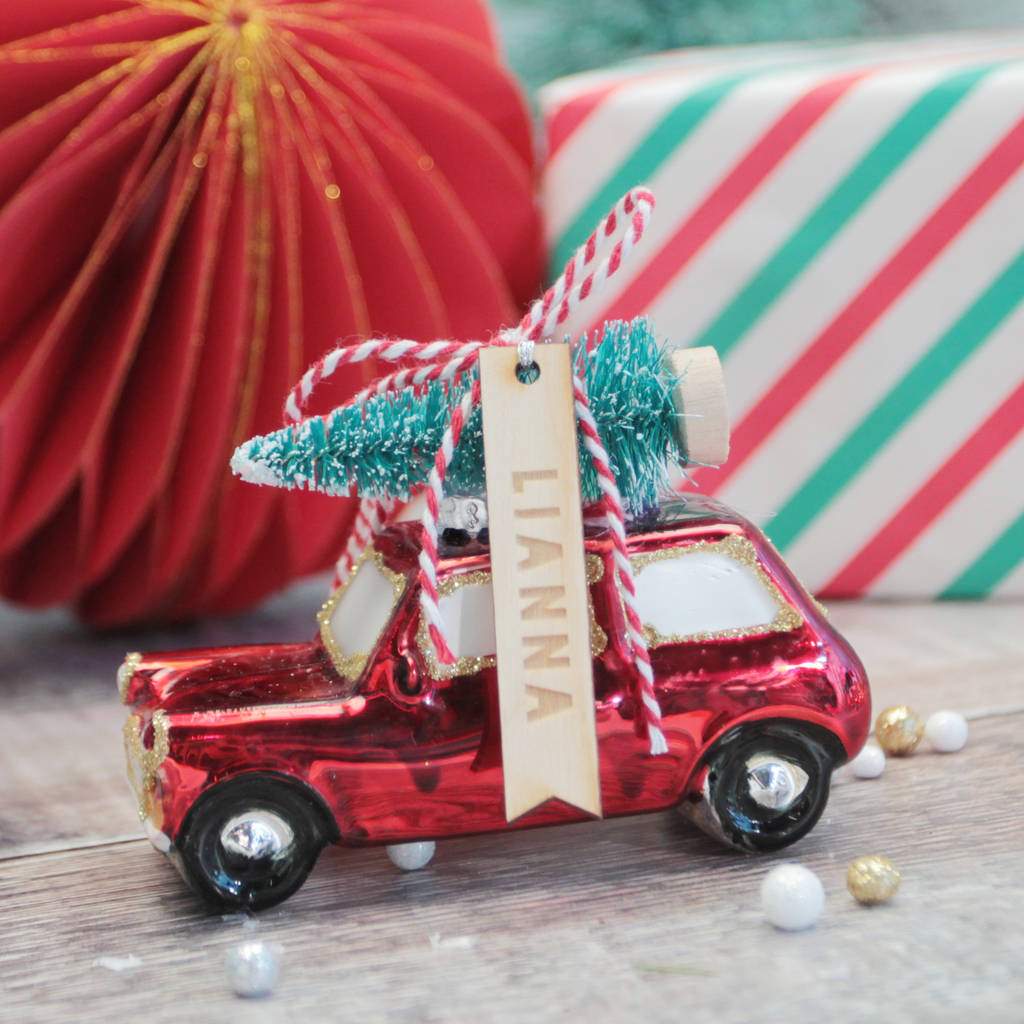 Christmas Car Decorations.Red Retro Car And Tree Christmas Tree Decoration