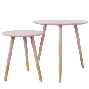 Dusky Pink Dipped Bamboo Wooden Table Set