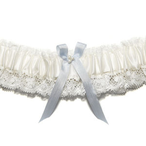 Ivory Silk Wedding Garter Something Blue Aurelie
