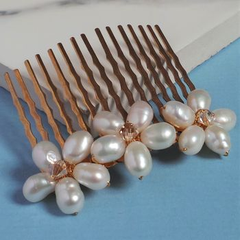 Gold Pearl Floral Hair Comb
