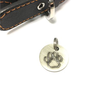 Personalised Antique Nickel Dog Tag Paw Design