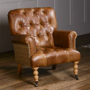 Imperial Buttoned Armchair Vintage Leather Or Tweed - furniture