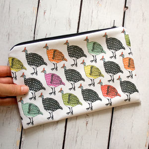 Colourful Guineafowl Lined Cotton Cosmetics Bag