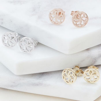 Temple Flower Stud Earrings For Life And Vitality