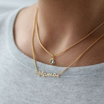 Mama Birthstone Layered Necklace Set