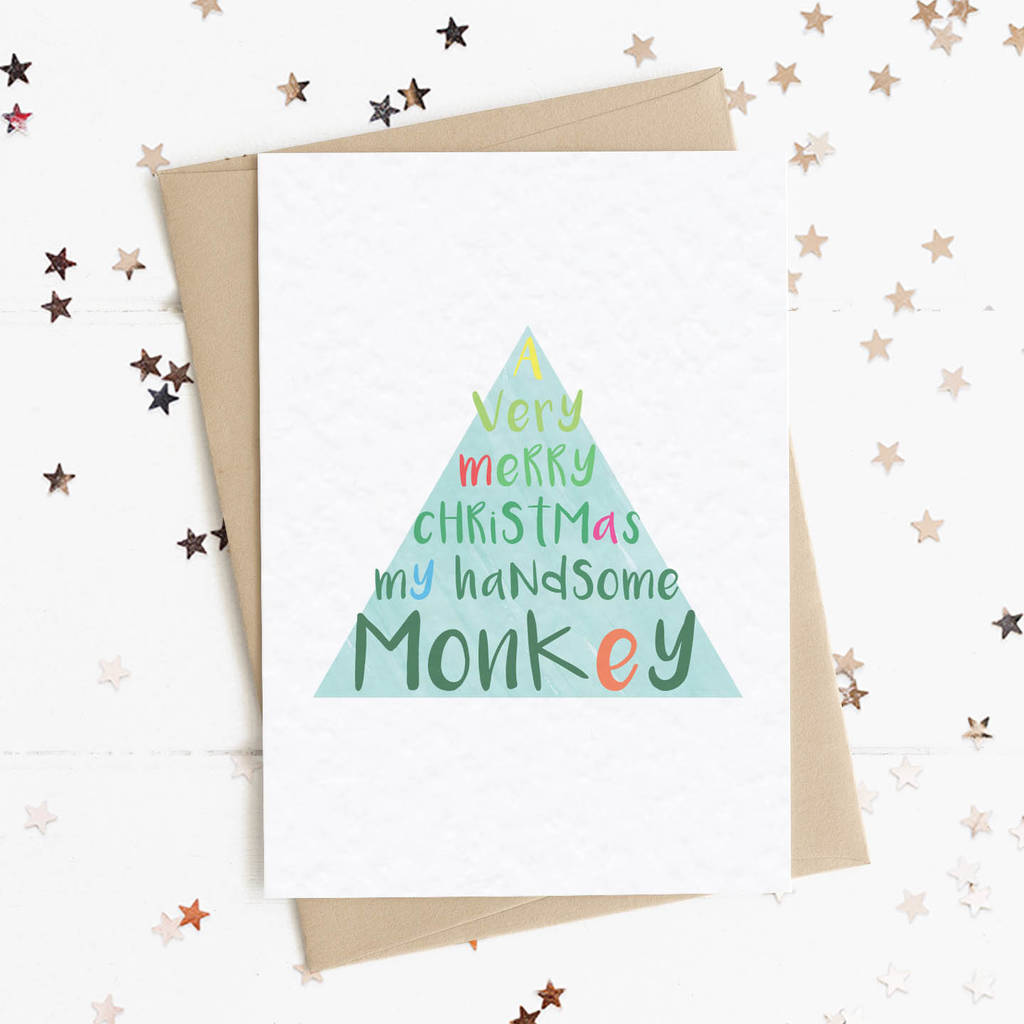 Merry Christmas My Handsome Monkey A6 Card